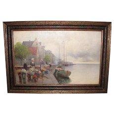 European Oil On Canvas Painting Circa 1915