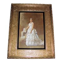 Antique American Watercolor Portrait Painting 19th Century
