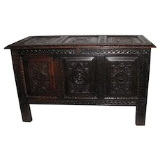 Antique English Jacobean Carolean Oak Coffer 17th Century