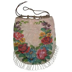 Antique Floral Beaded Bag 19th Century
