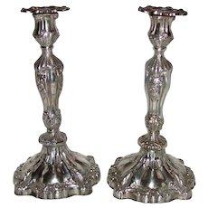 Pair Antique Victorian Hudsons Bay Company Silver Plate Candlesticks Circa 1850