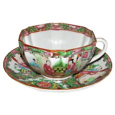 Antique Chinese Export Rose Medallion Porcelain Cup & Saucer Circa 1910