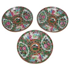 Antique Chinese Export Rose Medallion Porcelain Saucers 20th Century