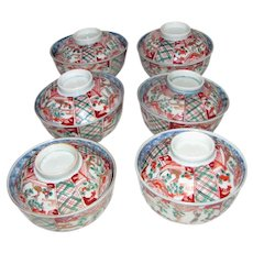 Six Antique Japanese Imari Rice Bowls with Covers Meiji Circa 1890