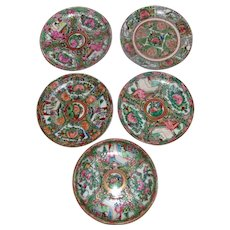 Antique Chinese Export Rose Medallion Porcelain Saucers Early 20th Century