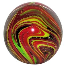 Vintage Large Glass Paperweight Colorful Swirls 20th Century