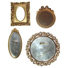 Four Antique Victorian Gilt Wood and Brass Miniature Frames 19th Century