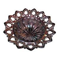 Antique Northwood Amethyst Carnival Glass Bowl Wild Rose