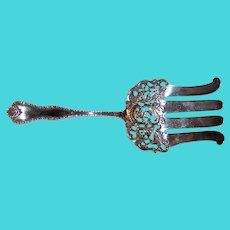 "Antique American Sterling Silver Serving Fork 9 1/2"""