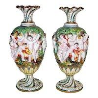 Pair Vintage Capodimonte Porcelain Vases Mid 20th Century