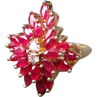 Vintage 14K Ruby and Diamond Ring 1960's