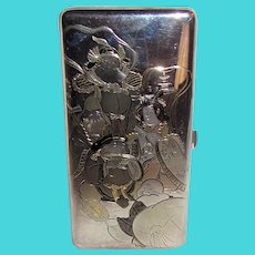Antique Japanese .950 Sterling Silver Cigarette Case With Box