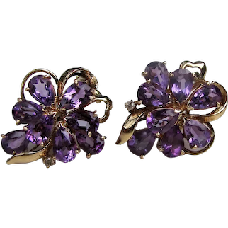 Vintage 14K Gold Amethyst Diamond Earrings
