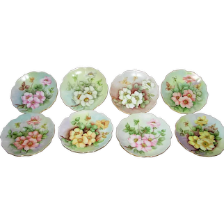"Set of Eight Vintage Hand Painted Dessert Plates 8"" Mid 20th Century"