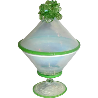 Antique Italian Murano Glass Candy Dish Early 20th Century