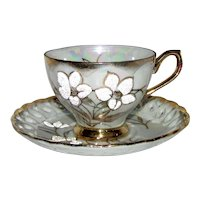 Vintage Japanese Coraline Porcelain Cup and Saucer Mid 20th Century