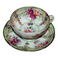 Vintage Japanese Moriage Porcelain Cup and Saucer 1920's