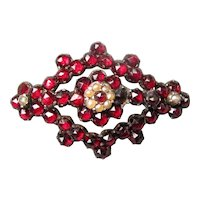 Antique Victorian Garnet and Pearl Brooch 19th Century