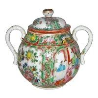 Antique Chinese Export Rose Medallion Sugar Bowl 19th Century