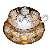 Vintage English Queen Anne Heavy Gold Porcelain Cup and Saucer Set 1950's