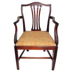 Antique English Georgian Mahogany Chippendale Arm Chair Circa 1780