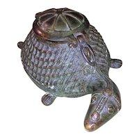 Antique  19th Century Colonial India Bronze Tortoise Box