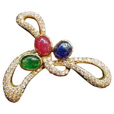 18K Gold Diamond Ruby Sapphire Emerald Brooch Circa 1970