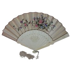 Antique Chinese Export Embroidered Fan With Box Circa 1870