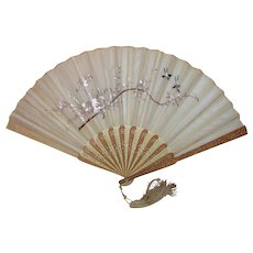 Antique Chinese Export Embroidered Fan with Box Circa 1880