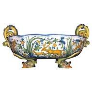 Antique Italian Cantagalli  Majolica Centerpiece Bowl Circa 1880