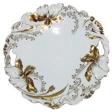 Antique R.S. Germany Porcelain Cake Plate with Gold Trim Circa 1910