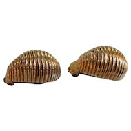 Vintage 1960's 14K  Gold Armadillo Earrings Cute!