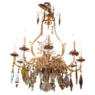 Vintage Italian 9 Light Crystal Chandelier Circa 1920