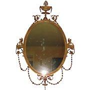 Antique American Hepplewhite Style Gilt Mirror Circa 1890