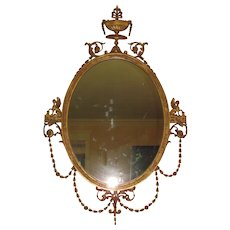 Antique American Hepplewhite Style Gilt Mirror Circa 1890