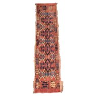 """Very Old Turkoman Rug 53"""" by 12"""" Runner"""