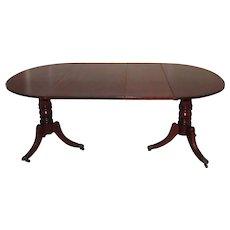 Antique English Regency Mahogany Double Pedestal Dining Table Circa 1820