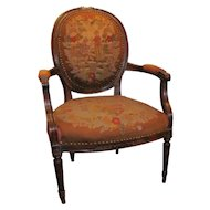 Antique French Louis XVI Style Needlepoint Armchair Circa 1880