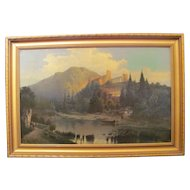 Antique Oil on Canvas Painting Barbizon School Circa 1900
