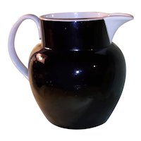 Antique Georgian Staffordshire Jackfield Black and Cream Pitcher Circa 1820