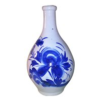 Antique 19th Century Japanese Blue and White Sake Bottle