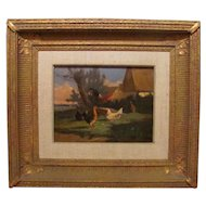 Antique Oil Painting on Wood Panel by By J.L. Vanleemputten Belgium
