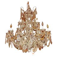 Large Antique European Crystal Chandelier Circa 1910