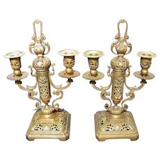 Pair Antique Gilt Bronze Candleabras Circa 1820 European