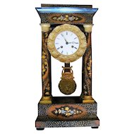 Antique French Portico Mantel Clock Circa 1840 8-Day