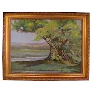 Post Impressionistic Oil on Board Signed Circa 1950