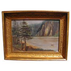 Antique Primitive Oil On Board Painting NW Scene Circa 1900