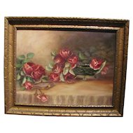 Vintage Oil on Canvas Still Life With Roses Circa 1930