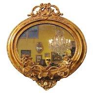 PAIR Antique English Victorian Gilt Mirror Back Girandoles Circa 1850
