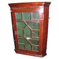 Antique English Georgian Mahogany Hanging Corner Cupboard Circa 1780